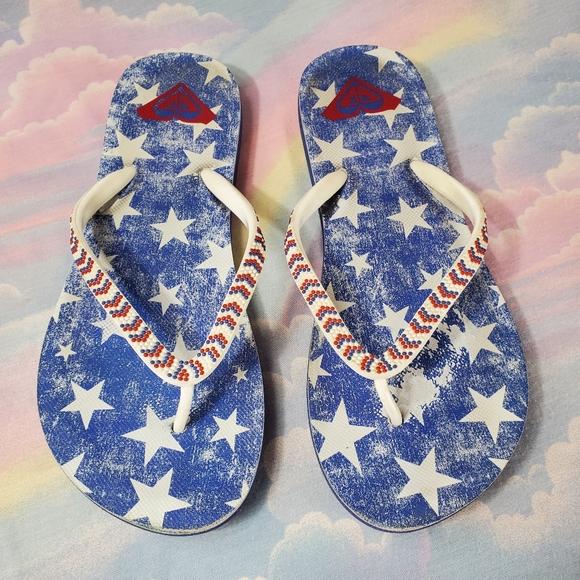 Roxy American Stars Beaded Flip Flop Sandals